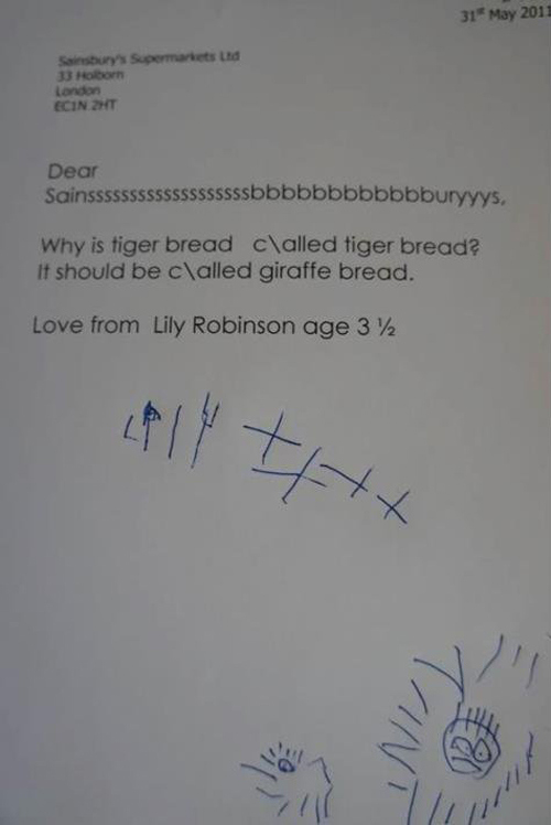 English for you rosas blog formal letter writing heres another example a 3 year old kid wrote to sainburys a famous store in the uk suggesting a name change for a type of bread expocarfo Gallery