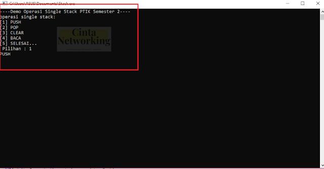 Contoh Pemerogramman STACK Dalam Bahasa C++ Yang Simpel Dan Mudah - Cintanetworking.com