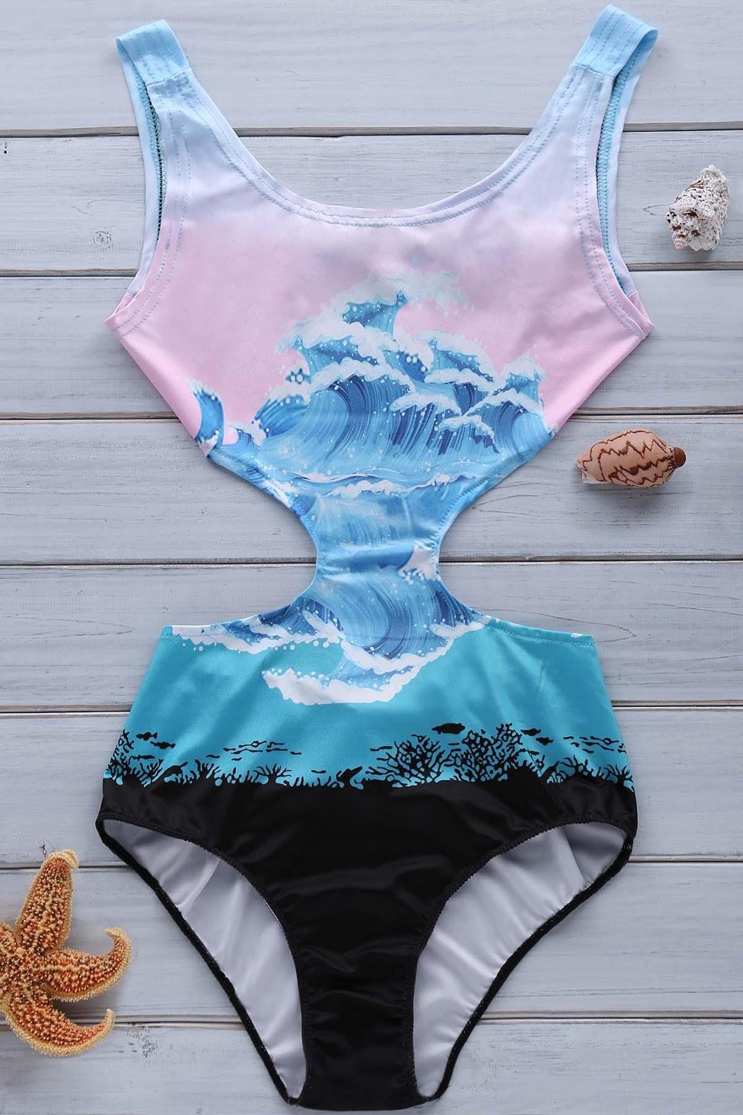 Wave Print Jewel Neck One-Piece Swimwear