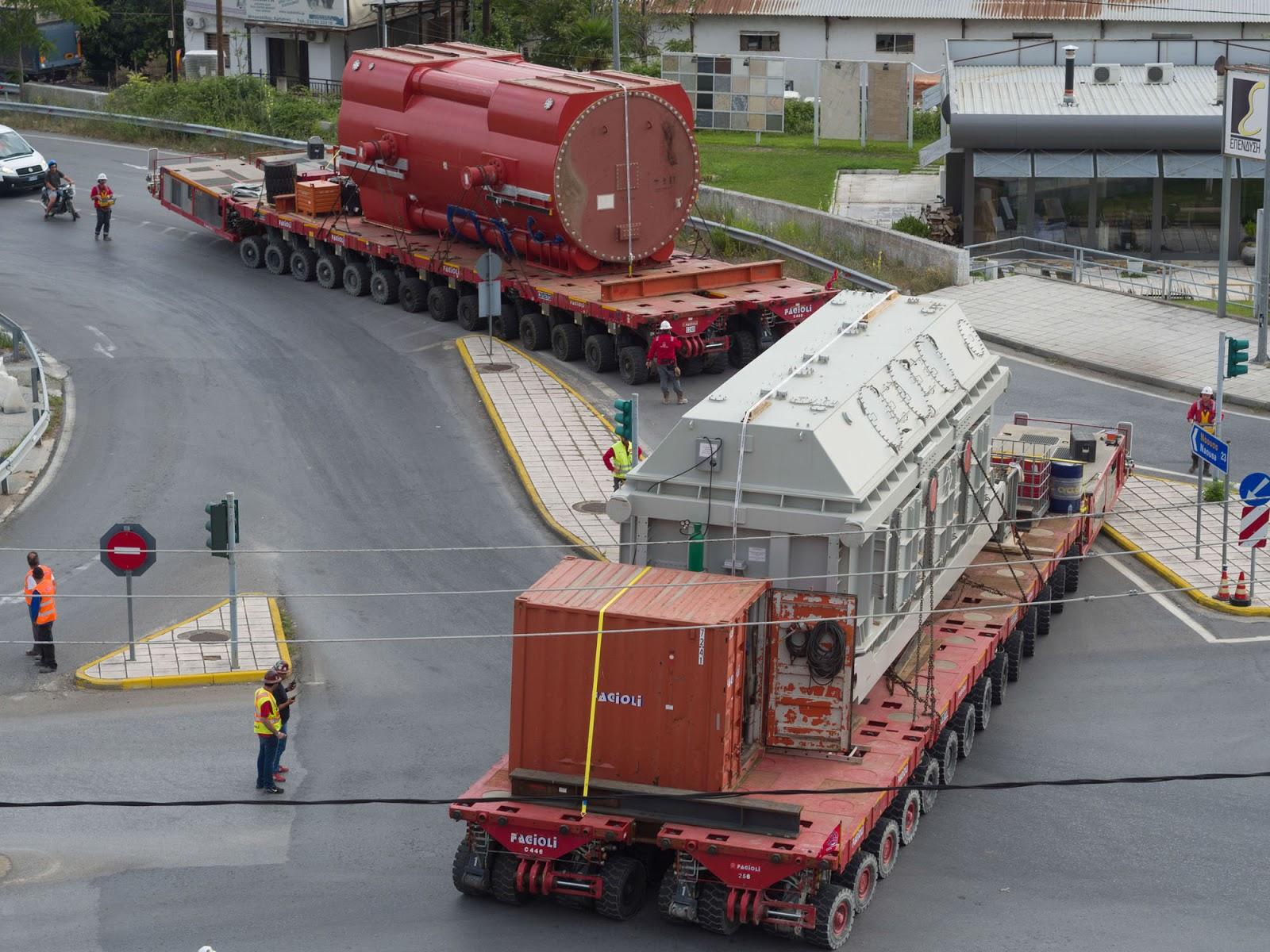 33b23f2921db Δείτε νέες φωτογραφίες και βίντεο από την ειδική συνδυασμένη μεταφορά του  κύριου μετασχηματιστή (βάρους 391 τόνων) και της κύριας γεννήτριας (βάρους  375 ...