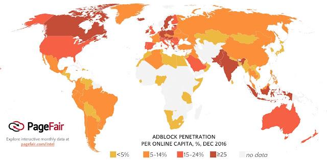Adblock kullananların haritası