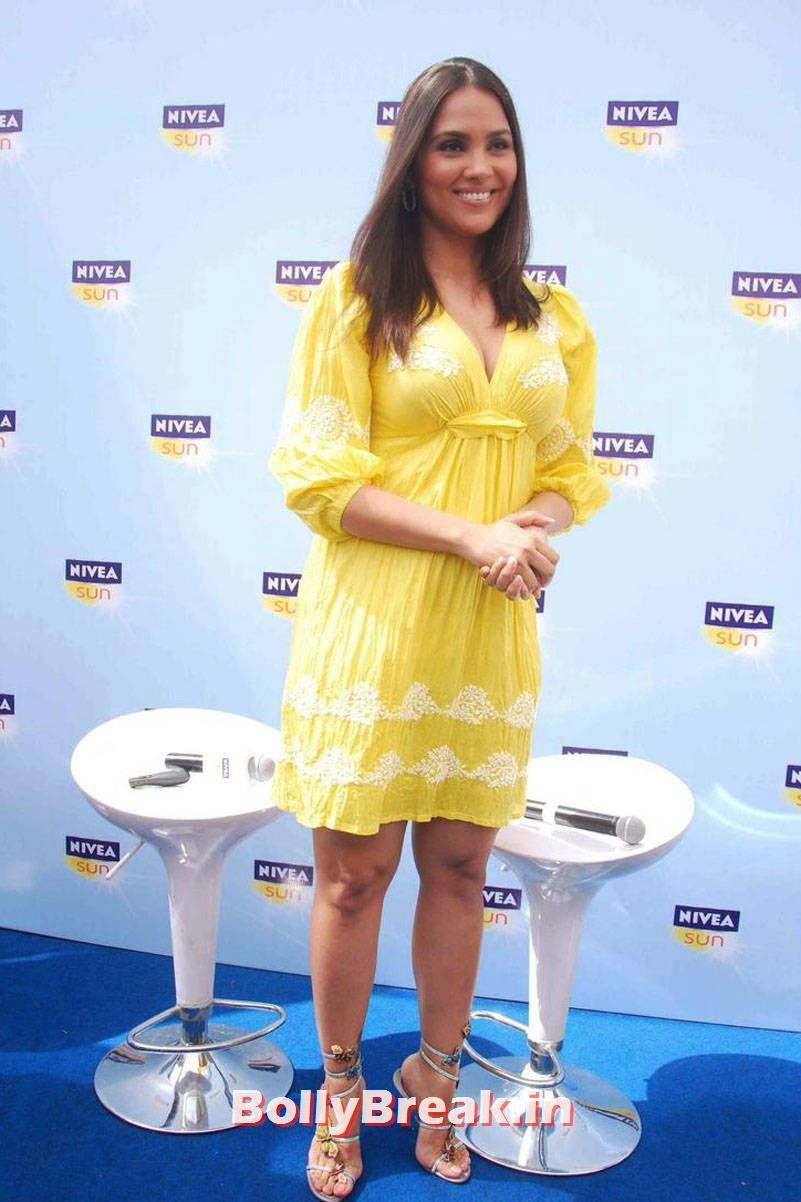 , Lara Dutta Hot HD Photos in Yellow Frock Dress