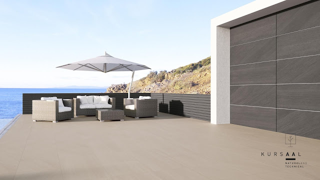 New concept of outside floor tiles design Kursaal series: Single finish for all spaces