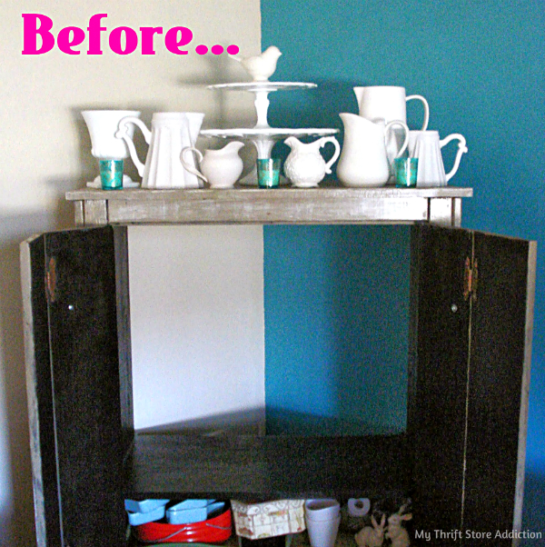 Repurposed armoire storage