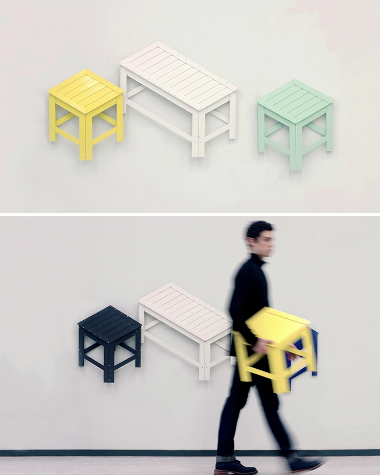 02-Jongha-Choi-Flat-Pack-Furniture-the-2D-Stool-that-Becomes-3D