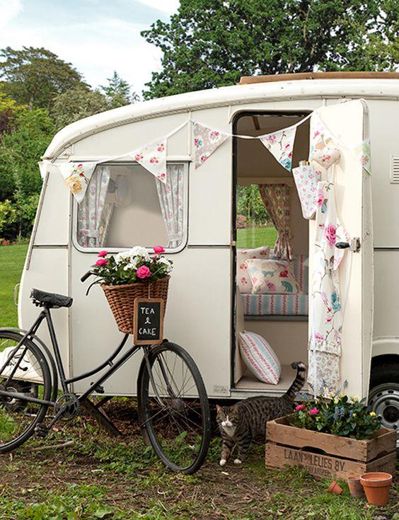 white vintage caravan