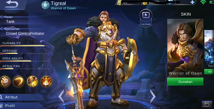 Gambar Tigreal (Warrior of Dawn) mobile legend