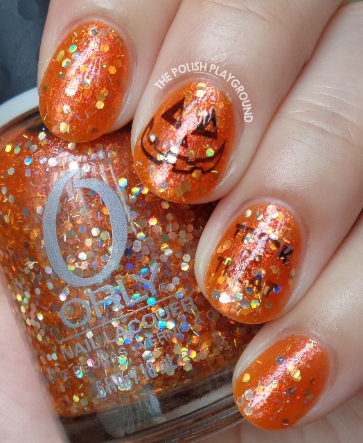 Orange and Black Halloween Inspired Stamping Nail Art