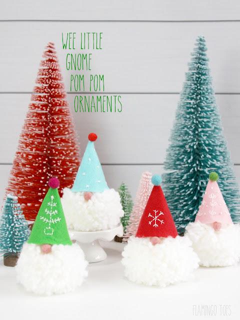 gnome pom pom ornaments for Christmas