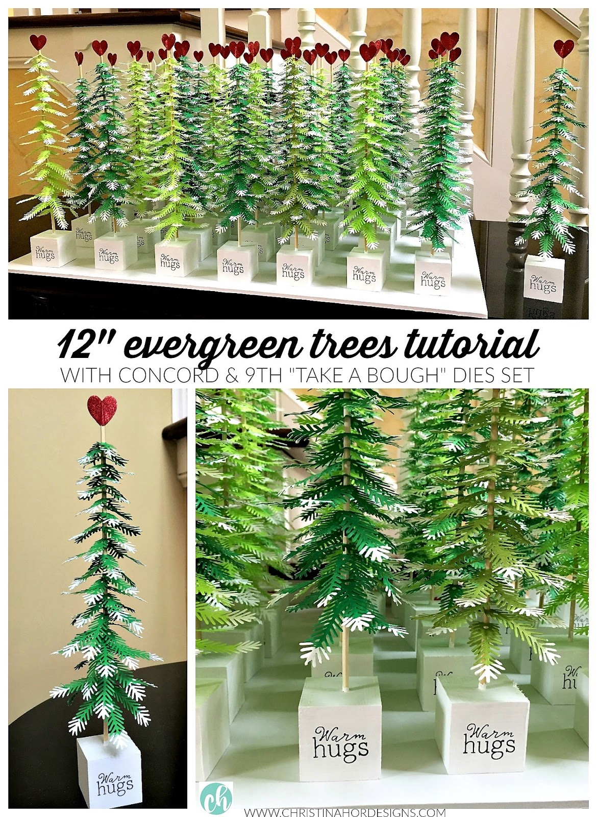 mini evergreen tree tutorial Concord & 9th Take A Bough Dies Set