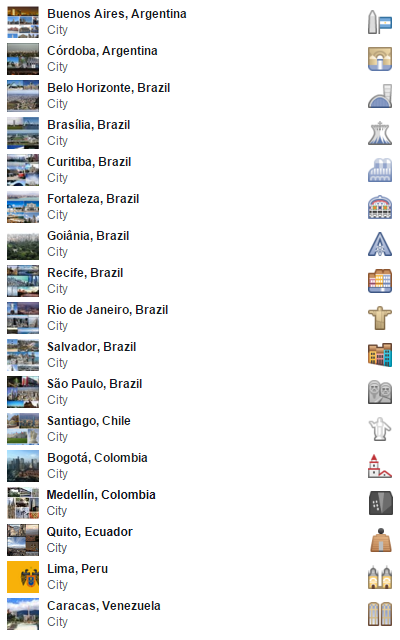 South America Facebook city travel icons