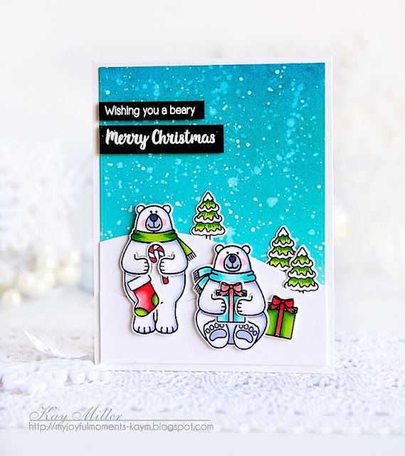 Sunny Studio Stamps: Playful Polar Bears Winter Themed Christmas Card by Kay Miller