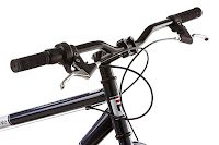 Alloy handlebars with rubber grips & Twist grip shifter on Mongoose Dolomite Fat Tire Bike