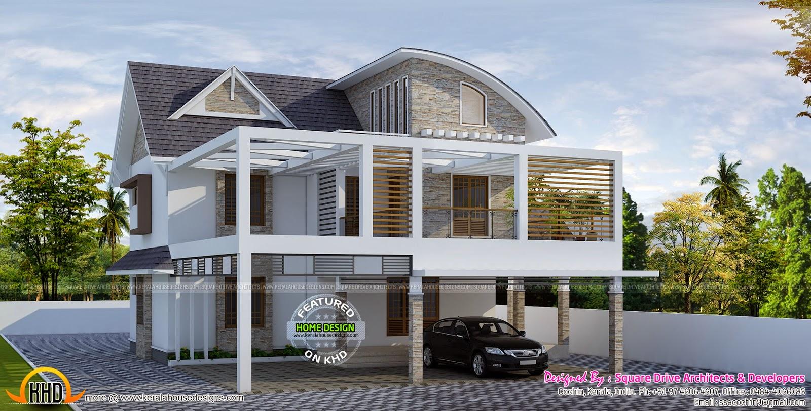 4 BHK modern home exterior - Kerala home design and floor ...