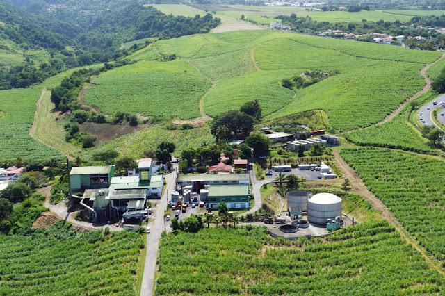 Vue aérienne de la Distillerie Bologne à Basse Terre