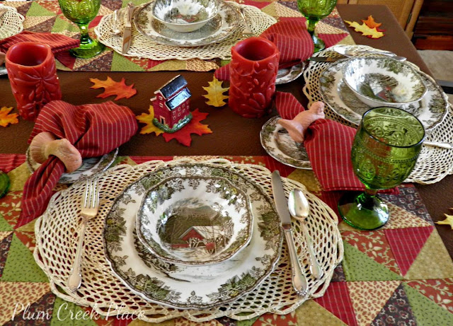 Johnson Brothers china, The Friendly Village, Park designs, Indian Summer, Rogers silverplate, Remembrance
