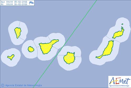 Canarias  en aviso amarillo por viento y oleaje, 15  y 16 febrero