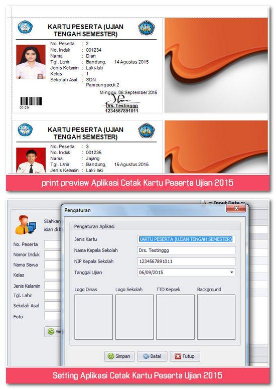 fitur utama aplikasi cetak kartu peserta ujian sekolah