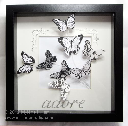 Black and white Butterfly Bouquet framed wall art