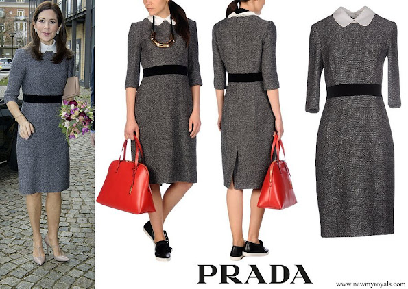 Crown Princess Mary wore Prada Knee length peter-pan-collar dress