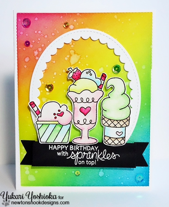 Birthday Sprinkles Card by Yukari Yoshioka | Summer Scoops Stamp set by Newton's Nook Designs #newtonsnook