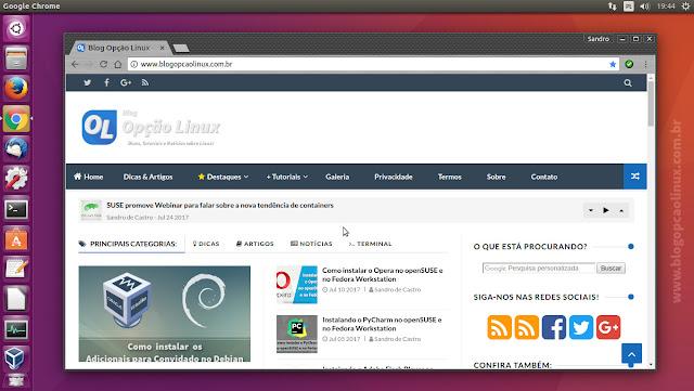 Google Chrome (estável) executando no Ubuntu 16.04.3 LTS, com desktop Unity 7