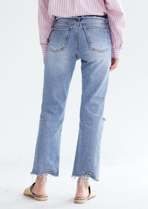 Uneven Cutoff Distressed Jeans