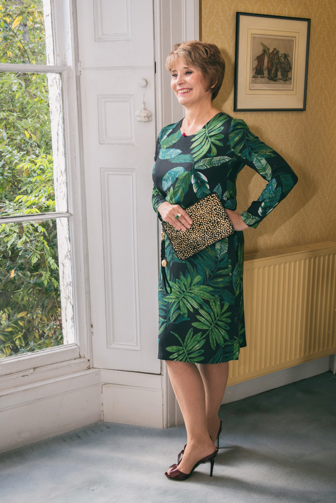 Image showing Is This Mutton fashion blogger Gail Hanlon in green Narelle dress from the Bias Cut dot com
