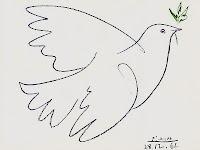 Ağzında bir zeytin dalı olan beyaz güvercin çizimi