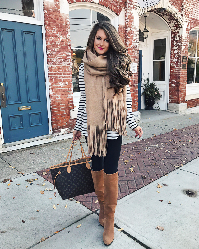 oversized scarf, striped top, OTK boots