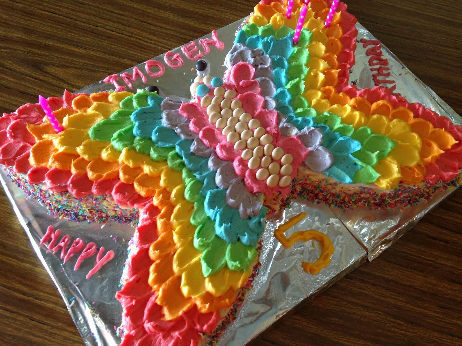 Rainbow Butterfly Cupcake Cake