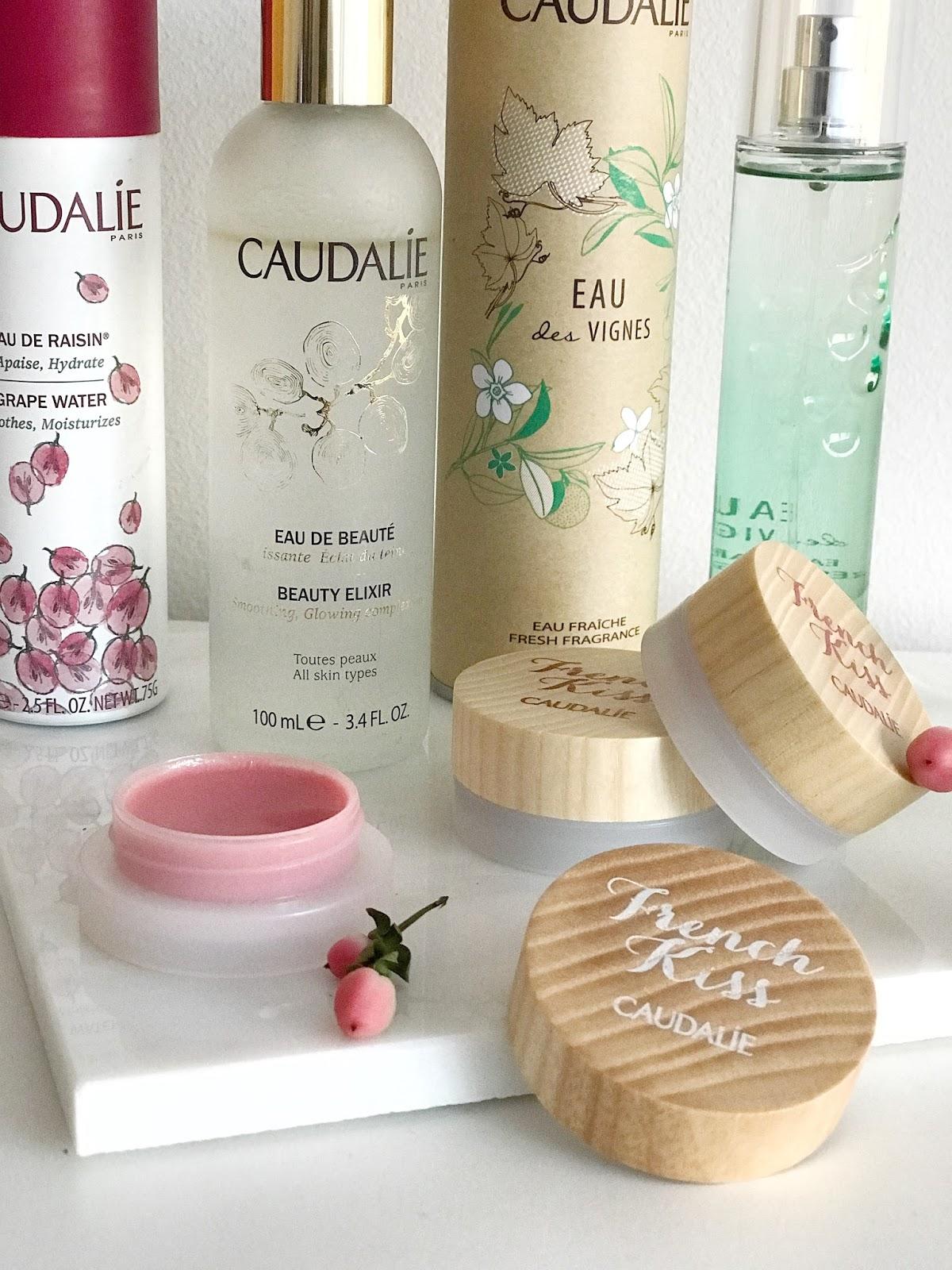 Caudalie Beauty Elixir, Caudalie osvežilna voda iz grozdja, Caudalie French kiss balzam za ustnice, Caudalie eau des vignes dišava, Caudalie vinoperfect essenca