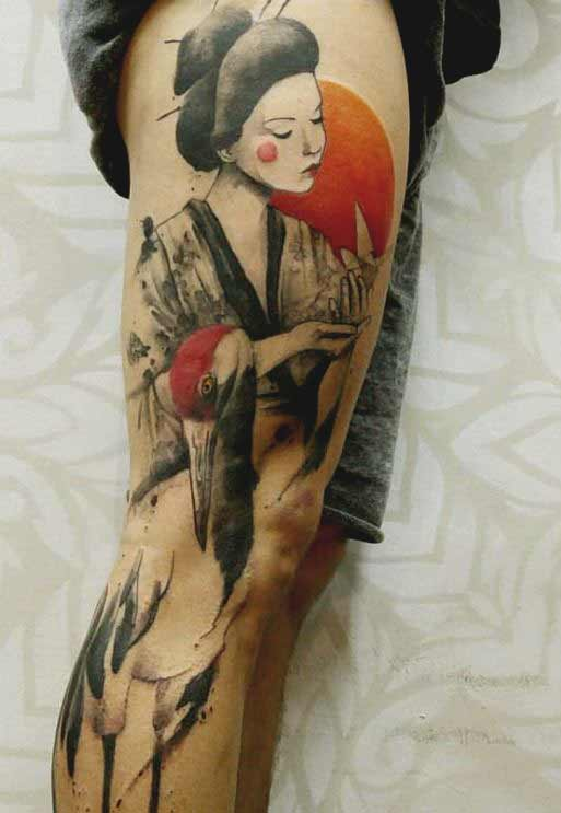 geisha tattoo drawing