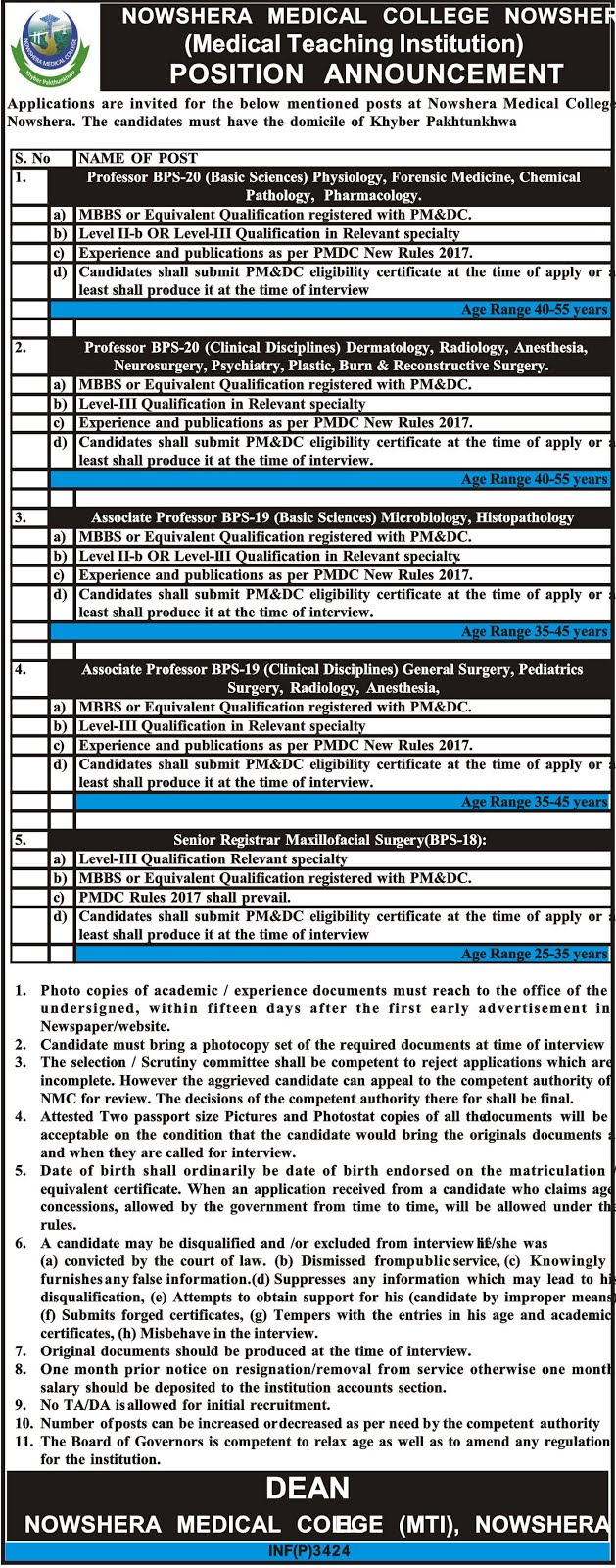 latest jobs 2018 Nowshera Medical College & DHQ Teaching Hospital