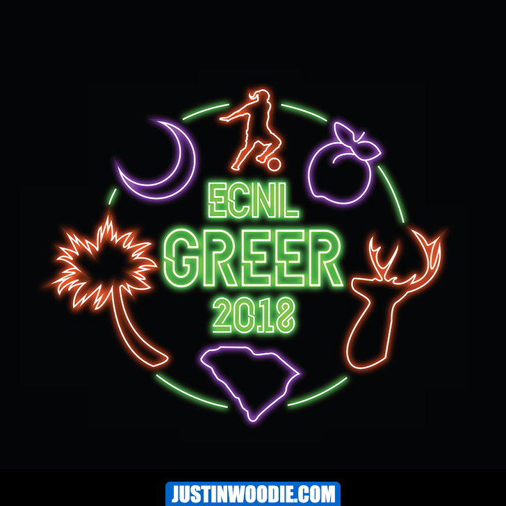 Girls ECNL Greer SC Neon Sign Graphic Logo Design