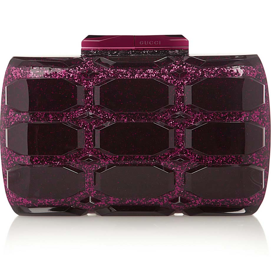 3c75761db Forget the ruby slippers... check out this stunning little baby! The Gucci  burgundy plexiglass box clutch. With raspberry glitter, no less.
