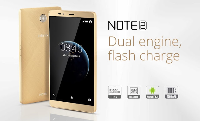 Infinix Note 2 X600 Spesifications - LAUNCH Announced November 2015 Status Announced November 2015 DISPLAY Type IPS, capacitive, touchscreen with 16,000,000 colors Size 6.0 inches Resolution 720 x 1280 pixels, 245 pixels per inch Multitouch YES BODY Dimensions 159.5 x 82.5 x 9.3 mm Weight 194 grams SIM Dual mini SIM PLATFORM OS Android 5.1 Lollipop CPU 1.3GHz octa-core Cortex-A53 Chipset MediaTek MT6753 GPU Mali-T760 MP4 MEMORY Card slot MicroSD, up to 32GB Internal 16GB CAMERA Primary 13MP, up to 4128 x 3096-pixel pictures Secondary 2MP up to 1600 x 1200-pixel pictures Features HDR, panorama, autofocus, Geo tagging camera with LED flash Video 1080p@30fps NETWORK Technology GSM / HSPA / LTE 2G bands GSM 850 / 900 / 1800 / 1900 3G bands HSDPA 850 / 2100 4G bands FDD-LTE 800 / 850 / 2100 / 1800 / 2600 GPRS Yes EDGE Yes COMMS WLAN Wi-Fi 802.11 b/g, Wi-Fi hotspot NFC No, But Have HOTKNOT (same as NFC) GPS A-GPS USB MicroUSB v2.0 Radio FM Radio Bluetooth Version 4.0 FEATURES Sensors Accelerometer, Proximity Messaging SMS, MMS, Email, Push Mail, IM Browser HTML Java No SOUND Alert types Vibration, MP3 ringtones Loudspeaker Yes 3.5mm jack Yes BATTERY  Non-removable Li-Ion 4000 mAh battery MISC Colors White, Black  – MP4/H.264/H.263/WMV player – Image viewer and editor – Document viewer and editor
