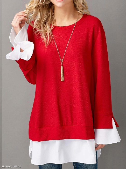 Round Neck Patchwork Plain Long Sleeve Sweatshirts - FashionMia Special Price: US$20.95