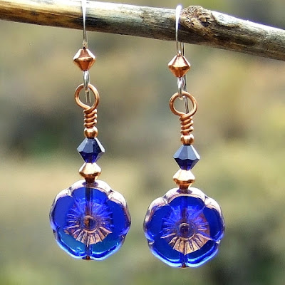 blue flower jewelry for women gift idea