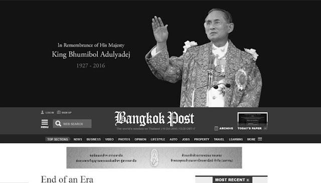 Beduka Atas Kematian Sang Raja, Tampilan Media Thailand Menjadi Seperti Ini