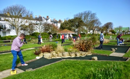 Richard Gottfried playing hole 13 of the Splash Point Mini Golf course in Worthing during the BMGA British Masters