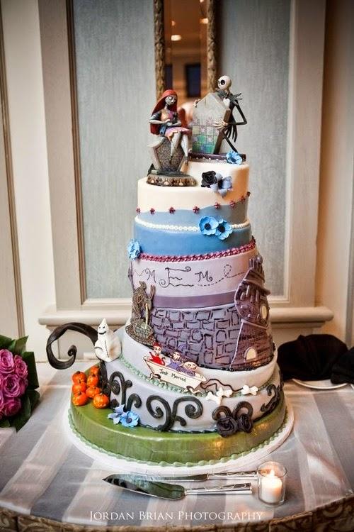 The Stylista Halloween Themed Weddings Nightmare Before Christmas Wedding Cakes  Elaina Joy