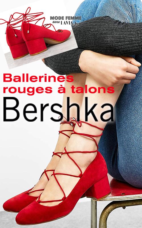 Ballerines rouge à talons et lacets BERSHKA