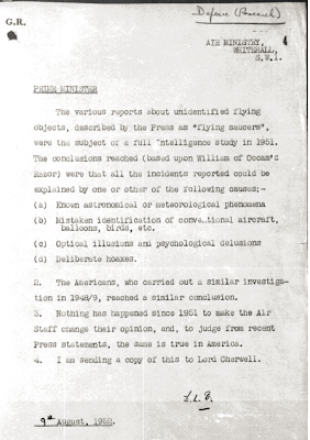 Air Ministry Whitehall Response To Churchill Memo Re Flying Saucers 8-9-1952
