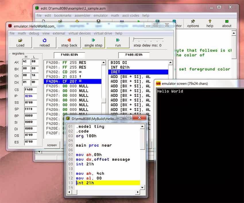 8086 microprocessor emulator 4.08