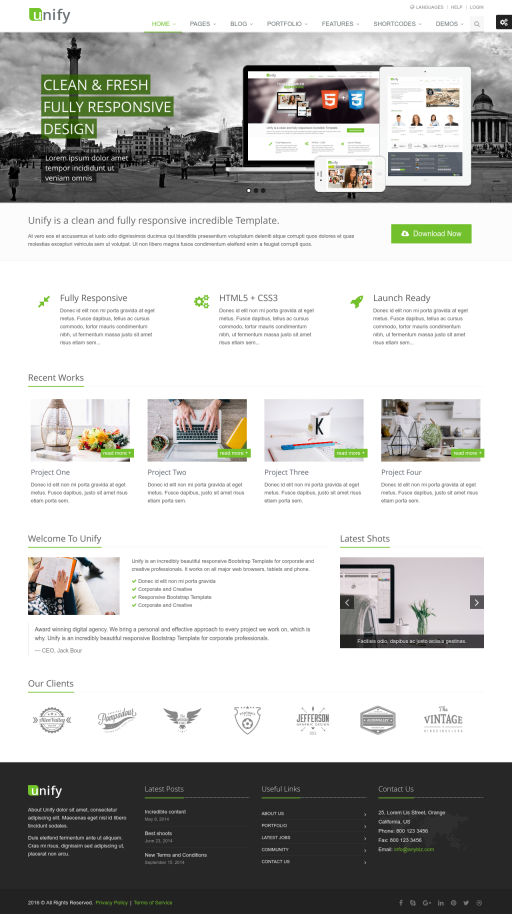 Unify - HTML5 & CSS3 - Bootstrap 3 - Responsive Website Template ...