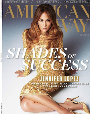 J.Lo stuns on the cover of American Way Magazine Singer and actress J.Lo looks stunning on the January 2016 cover of American Way Magazine.