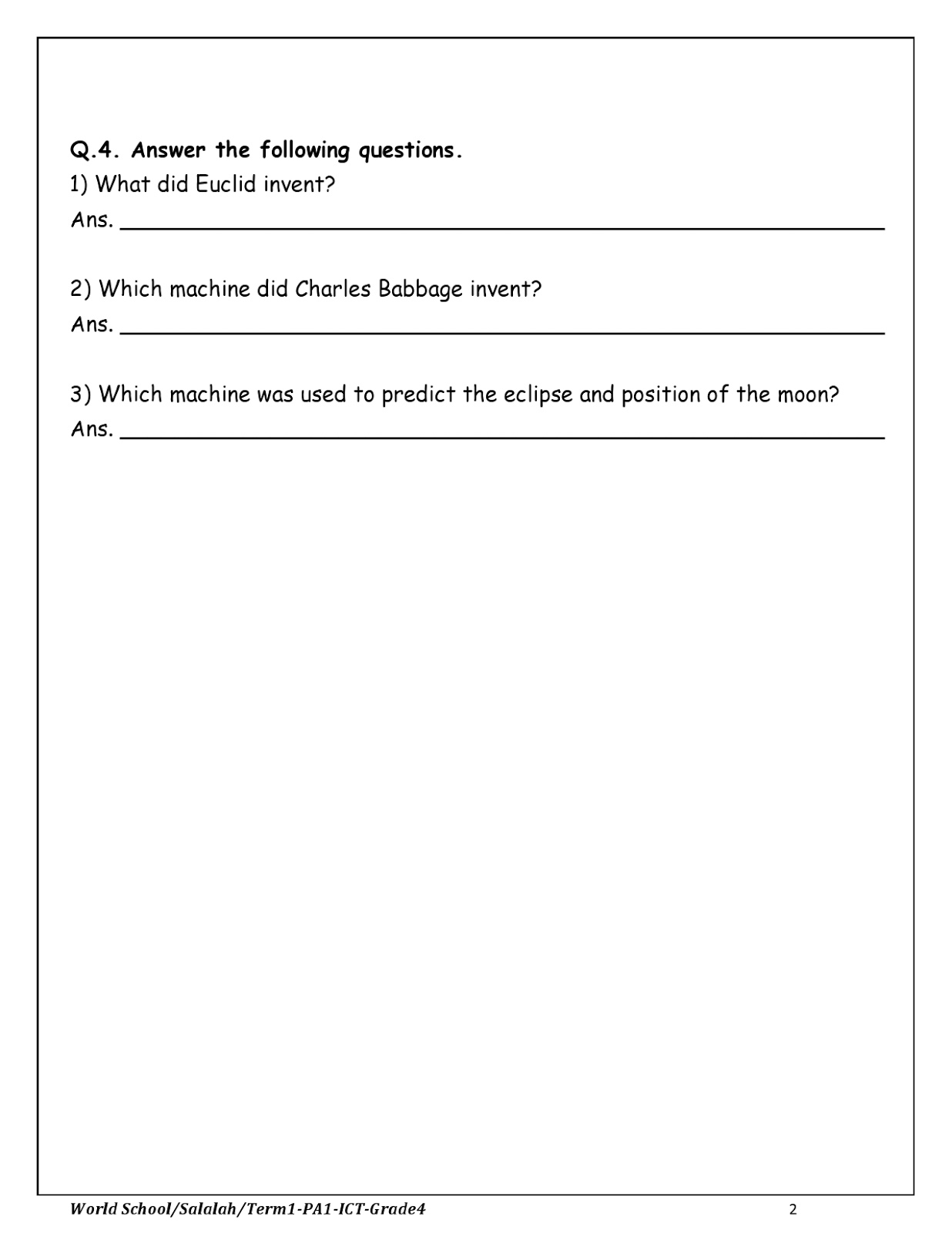 Birla World School Oman Revision Worksheets For Grade 4 As On 26 10