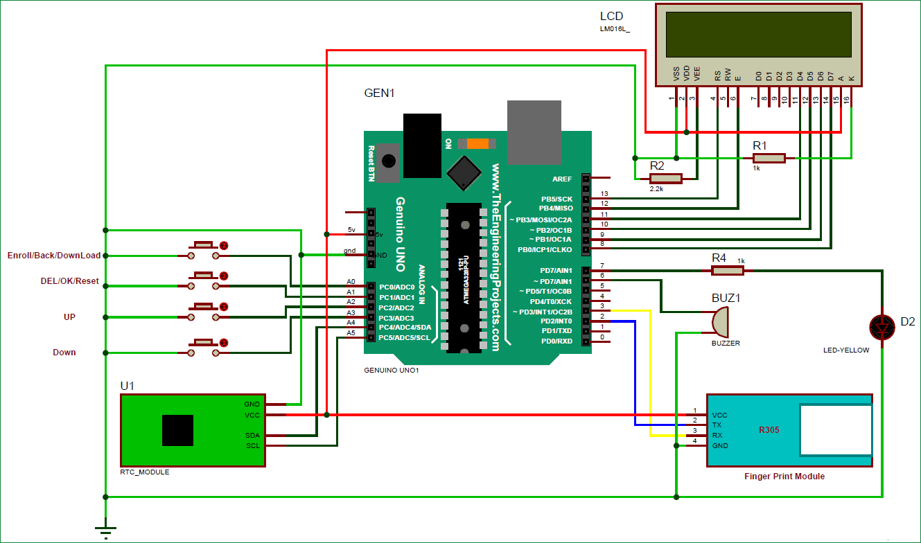 Fingerprint Based Biometric Attendance System Using Arduino Sl Buzzer In A Circuit The Of This Project As Shown Above Diagram Is Quite Simple It Has For Controlling All