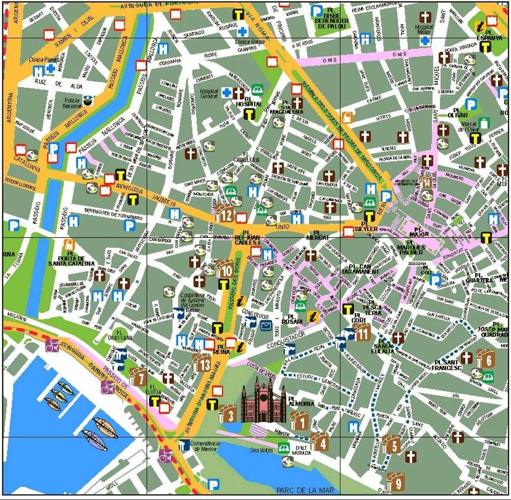 mapa turistico de palma de maiorca Mapa Turistico Centro Palma De Mallorca | Gairahmalam mapa turistico de palma de maiorca